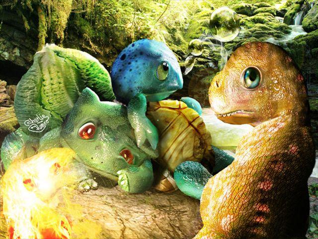 そして初代の御三家、フシギダネ、ゼニガメ、ヒトカゲも! まるっこい姿がリアルに描かれると、ちょっぴり違和感も?