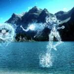 水しぶきがサムスやリンクに!涼しげクールなデジタル・アート