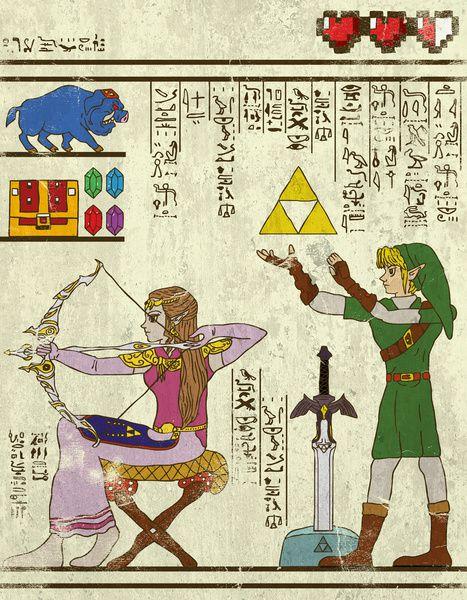 実にそれっぽい!古代エジプトの壁画風に描かれた「ゼルダの伝説」